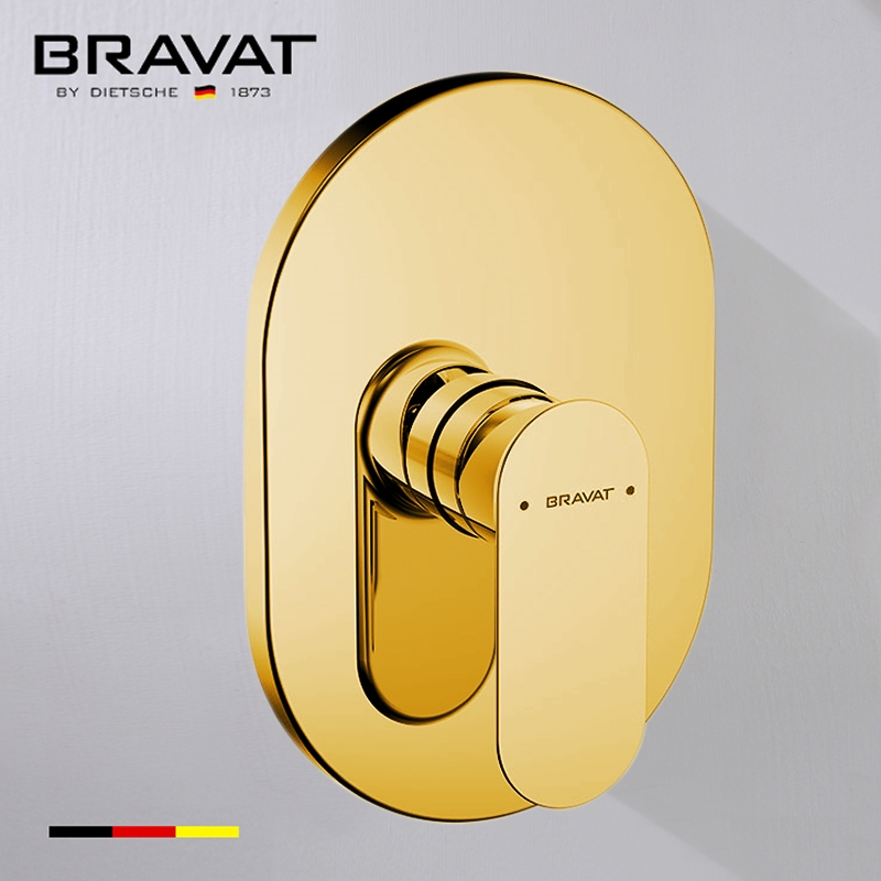 Bravat Wall Mount Shower Valve Mixer In Gold Finish