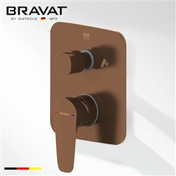 Bravat Square Shower 2-Way Mixer Control Valve In Light Oil Rubbed Bronze Finish