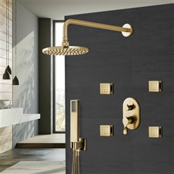 Brushed Gold Rainfall Round Shower Head And Hand Held Shower With Stress-Free Body Jet & Thermostatic Mixer Valve