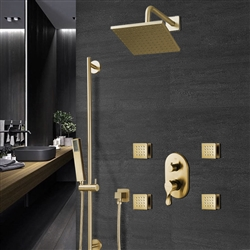 BathSelect Rainfall Square Shower Head And Hand Held Shower With Stress-Free Body Jet & Thermostatic Mixer Valve In Brushed Gold Finish