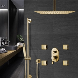 Lima Thermostatic Brushed Gold Shower Set With 4 Pieces SPA Massage Jets And 2-Way Mixer Valve