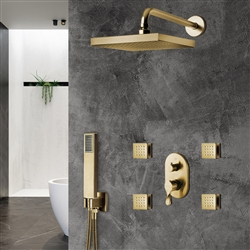 Peru Thermostatic Brushed Gold Rainfall Shower Set And Hand Held Shower With SPA Massage Jets And 2-Way Mixer Valve