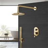 Brushed Gold Round Shower Head With Concealed Mixer And Handheld Shower