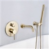 BathSelect Creteil Brushed Gold Shower Mixer Handheld Spray with Tub Faucet Set