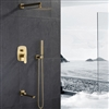 BathSelect Le Havre Brushed Gold Bathroom Rainfall Brushed Gold Concealed Rainfall Shower System with Tub Faucet