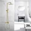 BathSelect Chatou Exposed Brushed Gold Wall Mount Square Rainfall Shower System