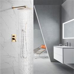 BathSelect Bavaria Brushed Gold Wall Mount Rainfall Shower Set