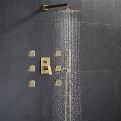 BathSelect Marseille Brushed Gold Wall Mount Massage Thermostatic Shower System Set