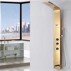 Gold Finish Bella Rainfall Pulsating Massage Shower Panel System Digital Display with Jets & Hand Shower
