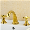 Solid Brass Gold Lemans Polished 3Pcs Bathroom Basin Sink Faucet Dual Handles Mixer Tap Deck Mount
