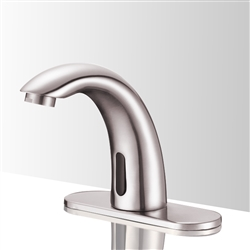 Contemporary touchless Commercial Automatic bathroom faucets brushed nickel