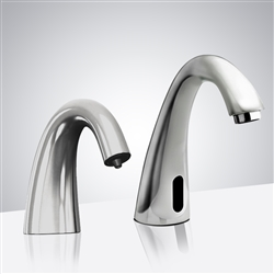 BathSelect Automatic Commercial Sensor Faucet and Matching Soap Dispenser