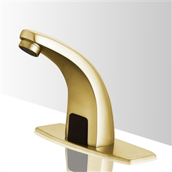 Brushed Gold hands free bathroom sink faucets sensor faucets for lavatory