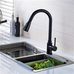 Parma Kitchen Sink Faucet Deck Mount Single Lever Black Bronze Finish with Pull Out Sprayer