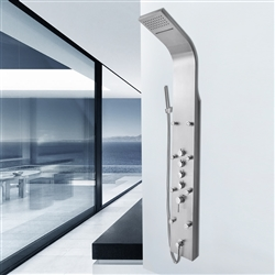 Shower Panel System with Rainfall Waterfall Shower Head in Stainless Steel