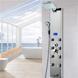 Shower Panel System in Mirror Silver Tempered Glass with Rainfall Shower Head LED Display Handshower