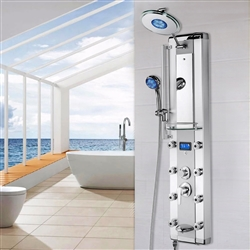 Aluminum Shower Panel System with LED Rainfall Shower Head, LED Shower Wand, Display, Tub Spout and Mirror