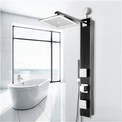Shower Panel System in Black Tempered Glass with Rainfall Shower Head and Handheld Shower Wand
