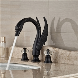 Rema Deck Mount 3pcs Swan Crystal Handle Faucet Oil Dark Rubbed Bronze Finish