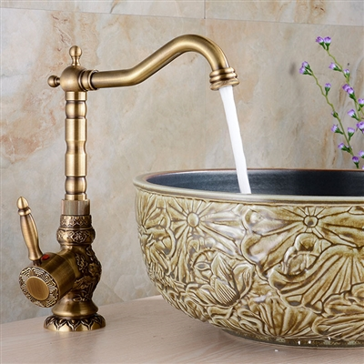 Antique Long Neck Brass Body Bathroom / Kitchen Sink Faucet with Hot & Cold Water Mixer