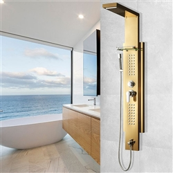 Gold Stainless Steel Rainfall Shower Panel Rain Massage System Thermalstatic Faucet with Jets & Hand Shower