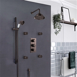 Light Oil Rubbed Bronze Lima-Thermostatic-Shower-System with concealed mixer