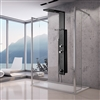 Black Stainless Steel Rainfall Shower Panel Rain Massage System Thermostatic Faucet with Jets & Hand Shower