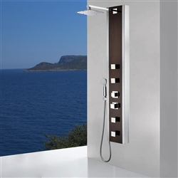 Full Body Shower Panel System with Heavy Rain Shower and Spray Wand in Mahogany Style Deco-Glass