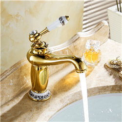 Versilia Gold Finish Sink Faucet Brass Single Handle with Ceramic Accents