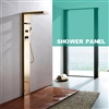 Leonardo Wall Mounted Shower Panel Set Rainfall Waterfall Body Massage and Hand Shower 304 Stainless Steel Gold Finish for Hotels
