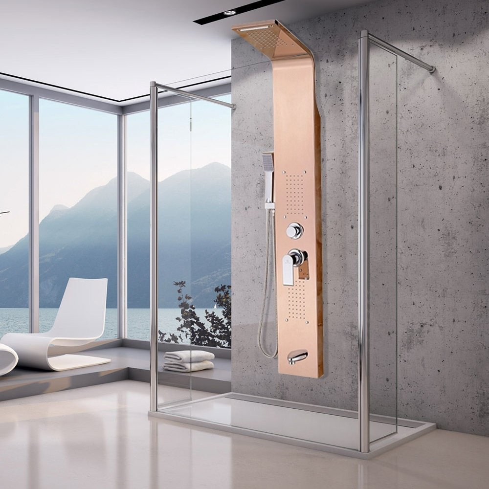 Buy Pulsating Massage Thermostatic Shower Shower Panel In Champagne ...