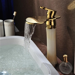 Tulib Gold Polished Waterfall Bathroom Sink Faucet Mixer Tap Retro Style Tall Bowlder Basin Faucet Single Handle Deck-mounted