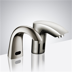 Commercial Automatic Sensor Faucet in Brushed Nickel Finish with Soap Dispenser