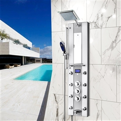 Aluminum Shower Panel System with Rainfall Shower Head, Handshower Wand, LED Display, Tub Spout and Mirror