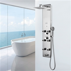 Shower System Panel with Rainfall Shower Head Hand Shower Tub Spout LED Display in Silver