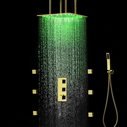 Venice Ceiling Mounted LED Shower Set in Gold Finish