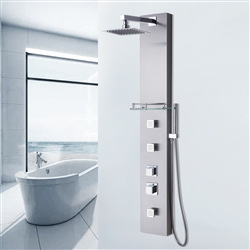 Thermostatic Shower System Panel with Rainfall Shower Head Hand Shower in Stainless Steel