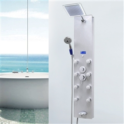 Shower Panel System in Silver Tempered Glass with Rainfall Shower Head, LED Display, Handshower, Tub Spout