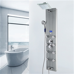 Shower Panel System in Gray Tempered Glass with Rainfall Shower Head, LED Display, Handshower and Tub Spout