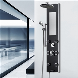Shower System with Black Tough Glass panel in Chrome