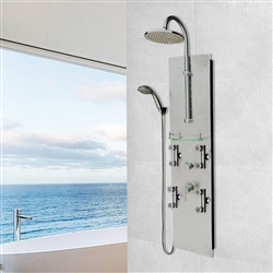 Shower System with Hammer Nickel Panel in Brushed Nickel