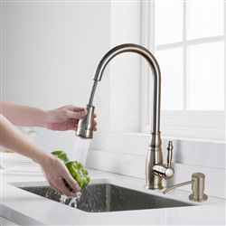 Lecce Kitchen Pull Out Sink Faucet Brushed Nickel Hot & Cold Water Mixer with Soap Dispenser