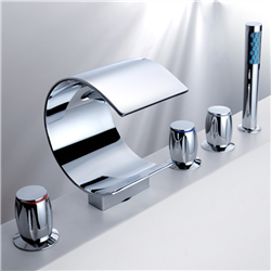 Acel Triple Handel Chrome Waterfall Sink & Bathtub Faucet