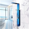 Blue Stainless Steel Rainfall Shower Panel Rain Massage System Thermalstatic  Shower