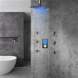 Romo Solid Brass Color Changing LED Rain Shower Head with Digital Mixer and 360° Adjustable Body Jets