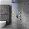 Naples Gold Finish Multi Color LED Rain Shower Head With Digital Mixer And 360° Adjustable Body Jets