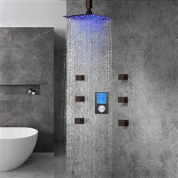 Lano Multi Color LED Rain Shower Head With Digital Mixer And 360° Adjustable Body Jets