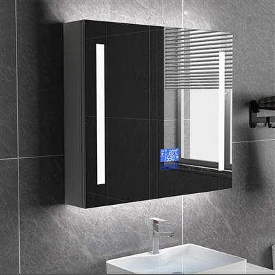 Smart Bathroom Wall Mount Mirror Cabinet In Double Door With Anti Fog, Clock And Bluetooth Function