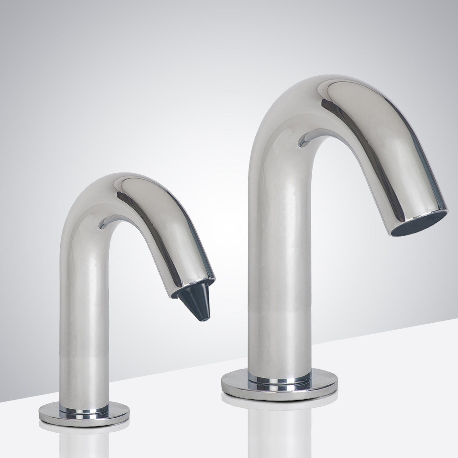 Reno Goose Neck Chrome  Finish Dual Commercial Automatic Sensor Faucet And Soap Dispenser