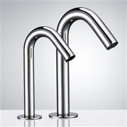 BathSelect Goose Neck Chrome Finish Dual Commercial Automatic Sensor Faucet And Soap Dispenser